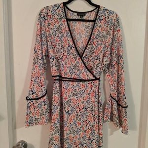 Topshop mini wrap dress with bell sleeves